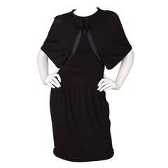 CHANEL Black Silk Dolman Sleeve Dress sz 38
