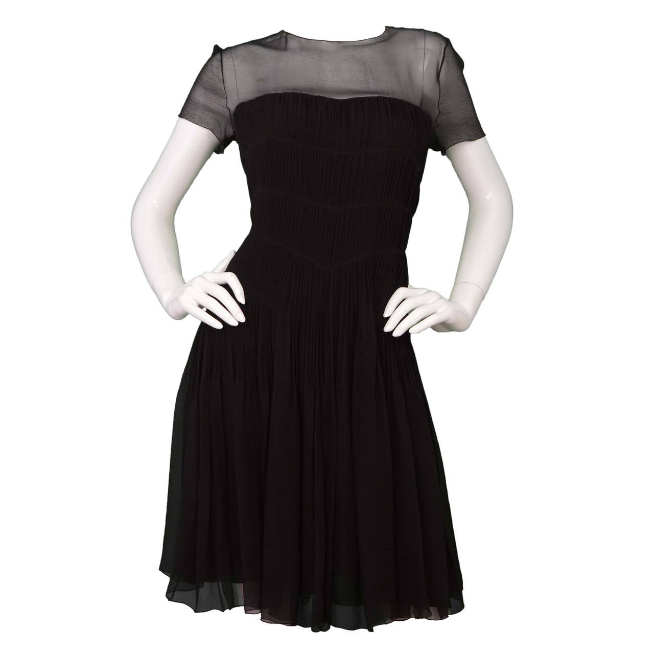 CHANEL Black Silk Short Sleeve Pleated Dress sz 42 1