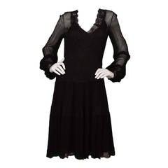 OSCAR DE LA RENTA Black Chiffon & Lace Smock Dress sz 8