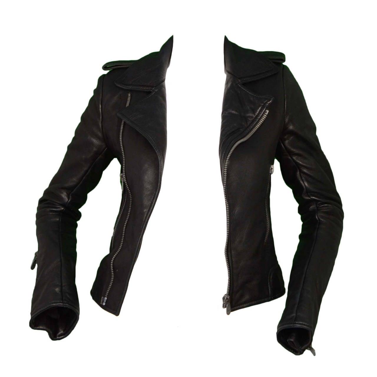 BALENCIAGA Black Leather Biker Jacket sz 34 1