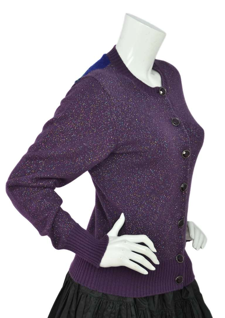 CHANEL Purple Glitter Cashmere Cardigan Sweater with Multicolor ...