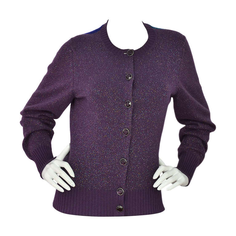 CHANEL Purple Glitter Cashmere Cardigan Sweater with Multicolor ...