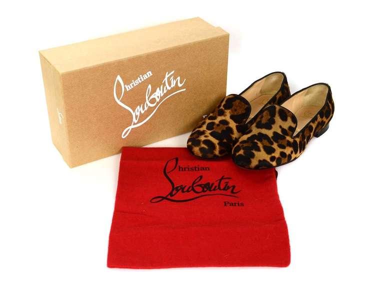 CHRISTIAN LOUBOUTIN Leopard Print Ponyhair Smoking Slippers Flat ...