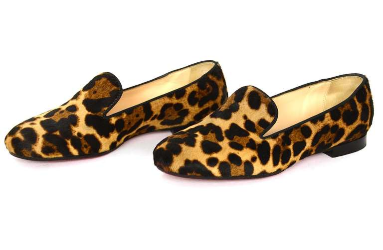 CHRISTIAN LOUBOUTIN Leopard Print Ponyhair Smoking Slippers Flat Shoes Sz37 At 1stdibs