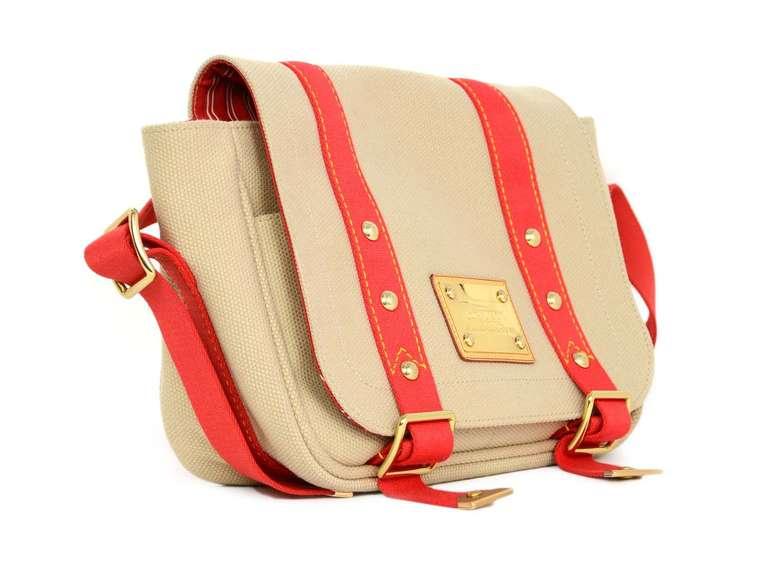 Louis Vuitton Beige Canvas Crossbody Bag W Red Trim At 1stdibs