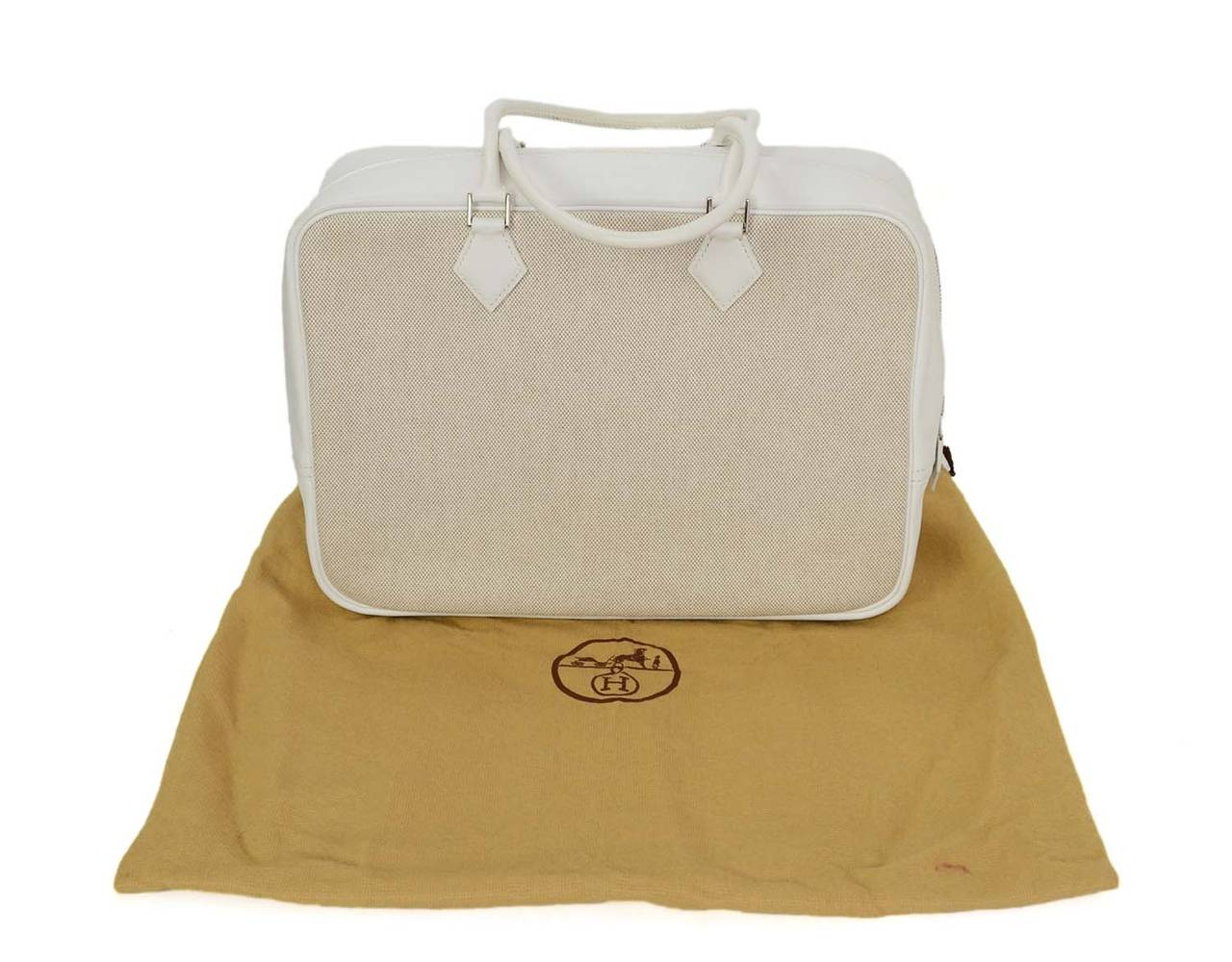 HERMES Beige Canvas & White Leather Plume Bag PHW 9
