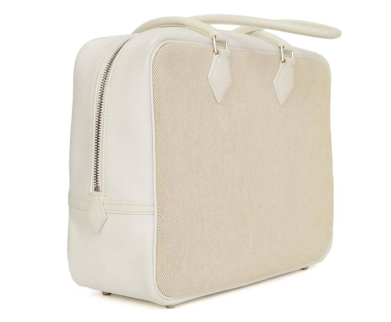 HERMES Beige Canvas and White Leather Plume Bag PHW For Sale at ...