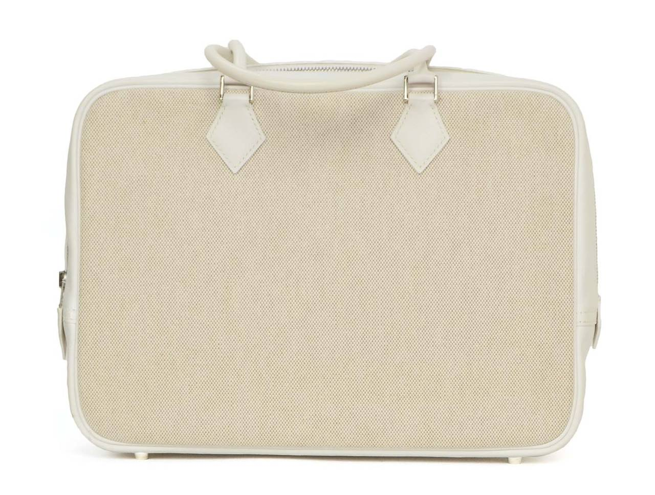 HERMES Beige Canvas & White Leather Plume Bag PHW 3