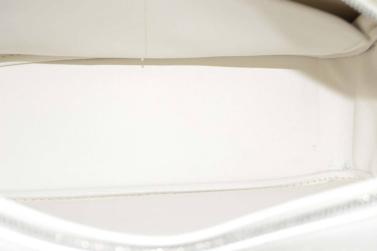 HERMES Beige Canvas & White Leather Plume Bag PHW 6