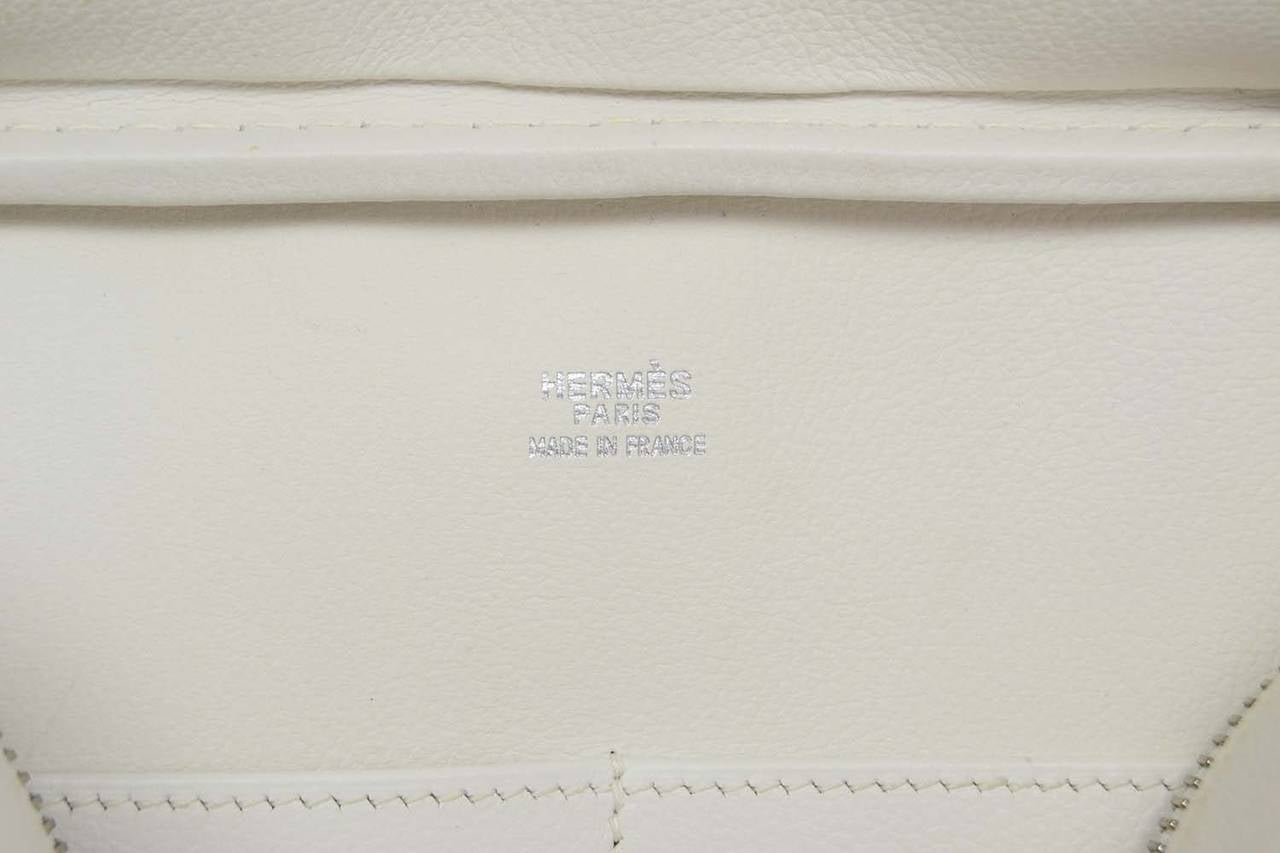 HERMES Beige Canvas & White Leather Plume Bag PHW 7