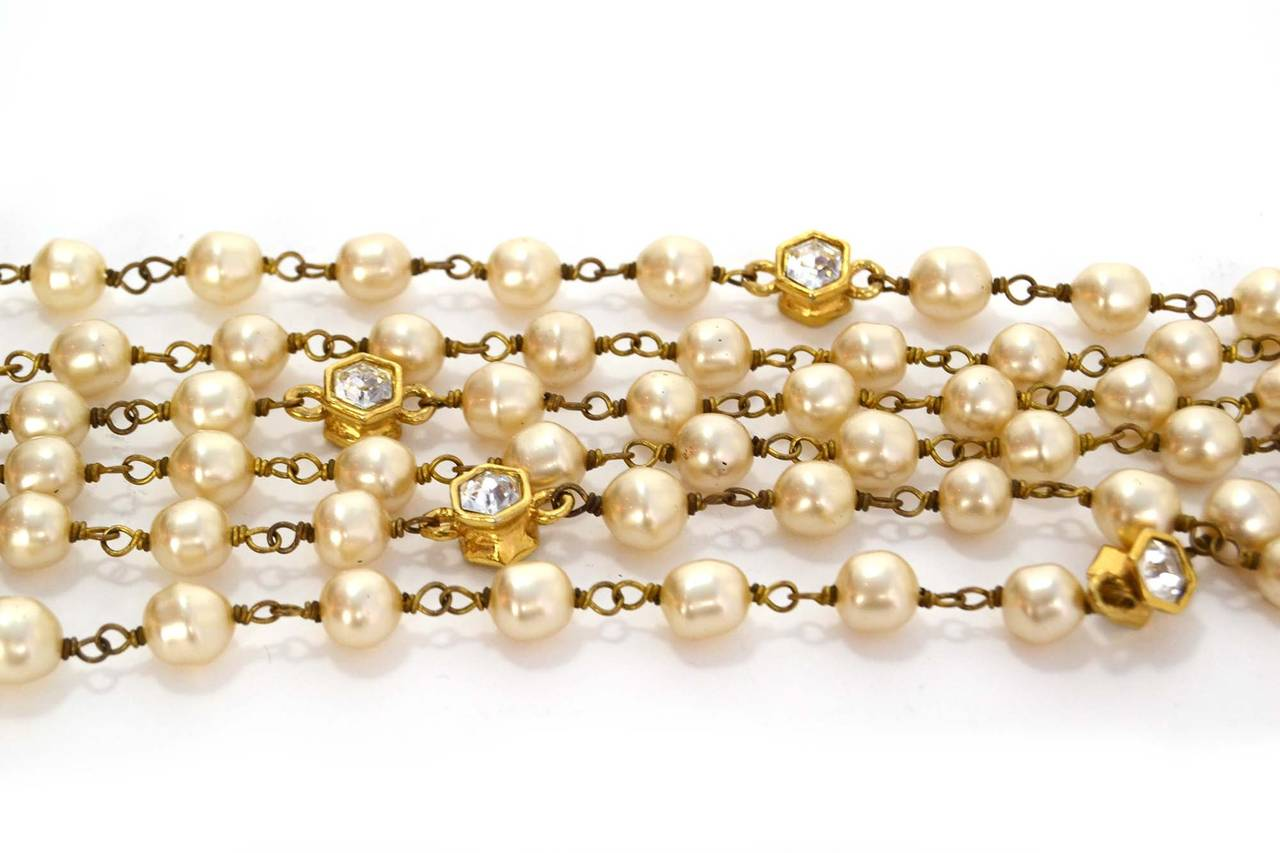 CHANEL Vintage 70's-80's Pearl & Hexagonal Crystal Long Necklace 2