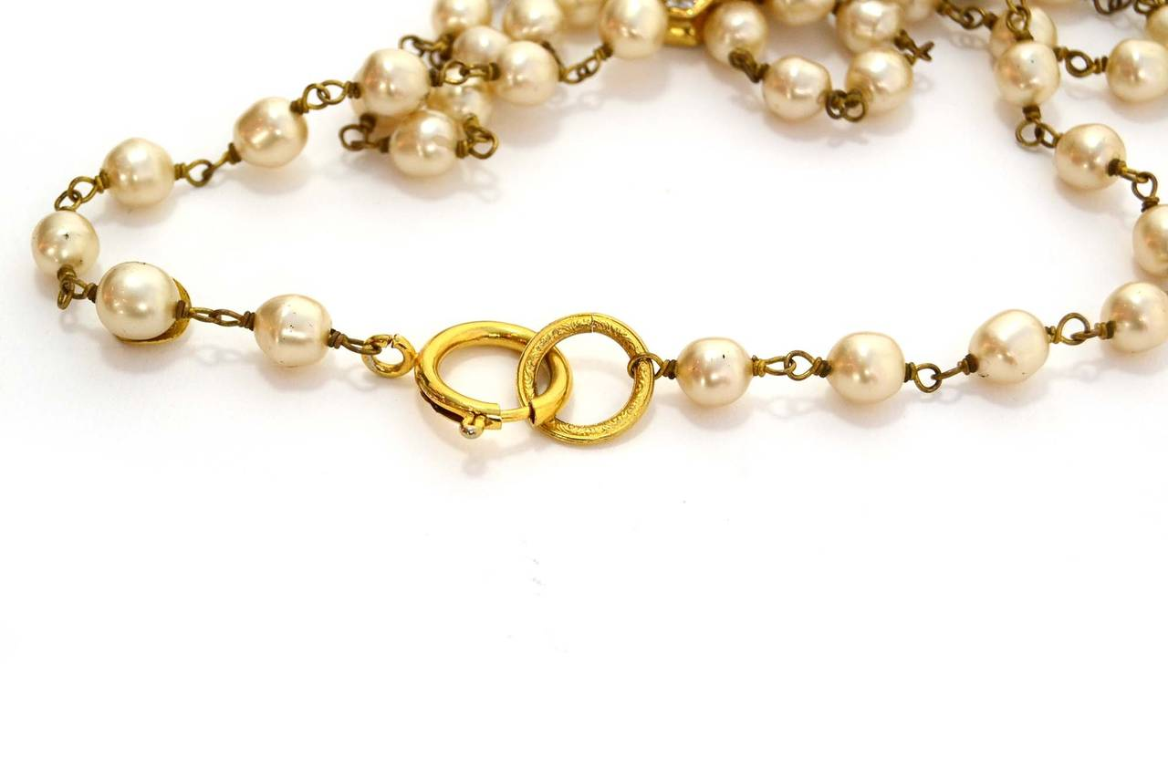 CHANEL Vintage 70's-80's Pearl & Hexagonal Crystal Long Necklace 3