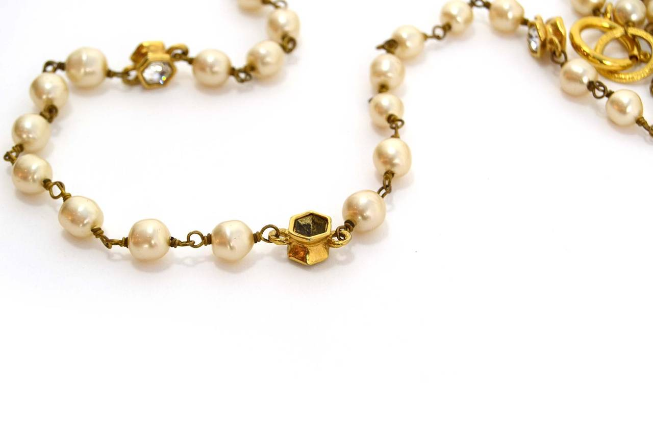 CHANEL Vintage 70's-80's Pearl & Hexagonal Crystal Long Necklace 4