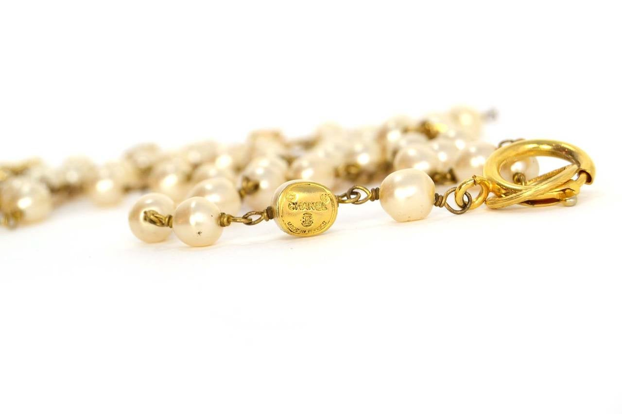 CHANEL Vintage 70's-80's Pearl & Hexagonal Crystal Long Necklace 5