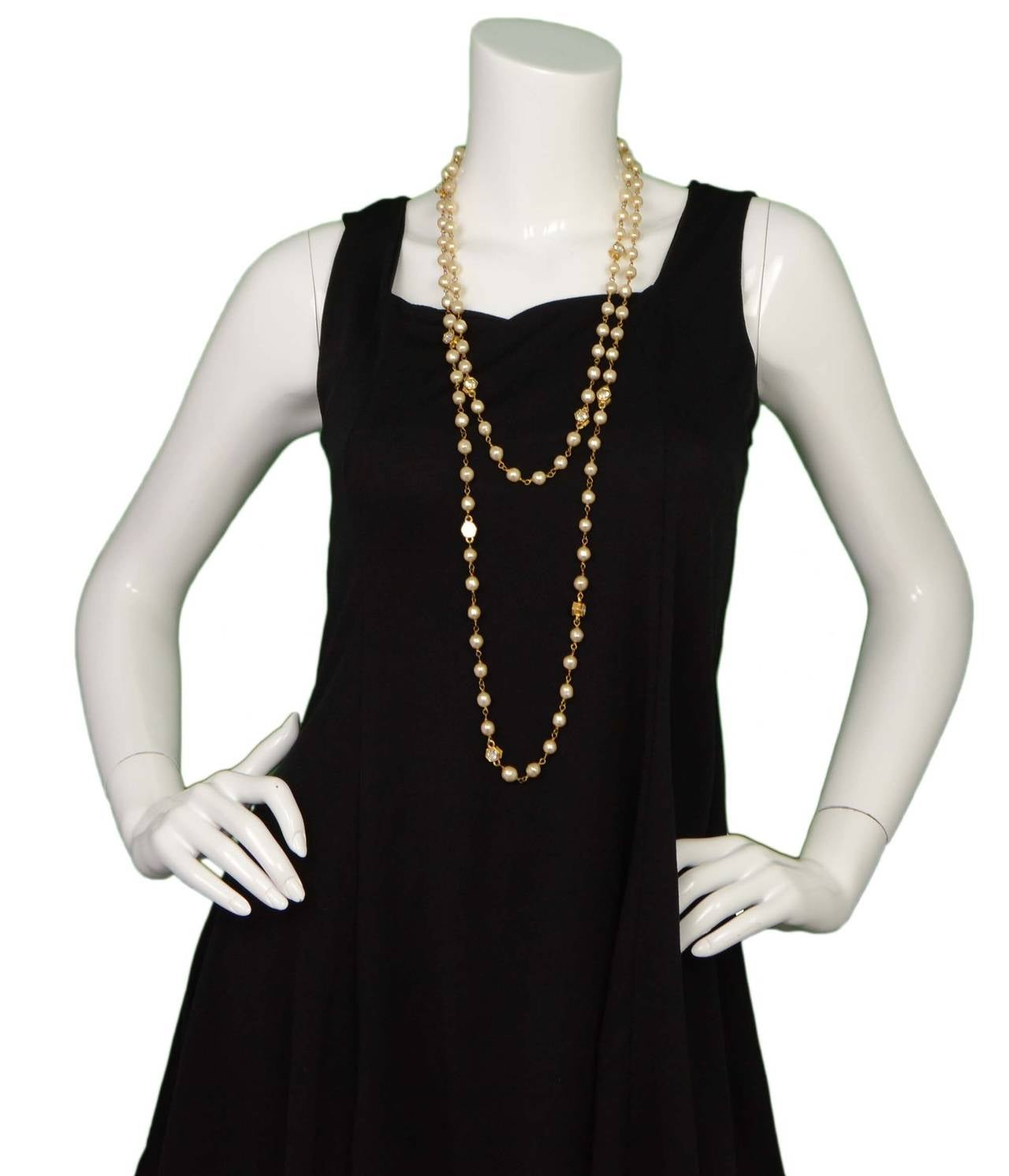 CHANEL Vintage 70's-80's Pearl & Hexagonal Crystal Long Necklace 8