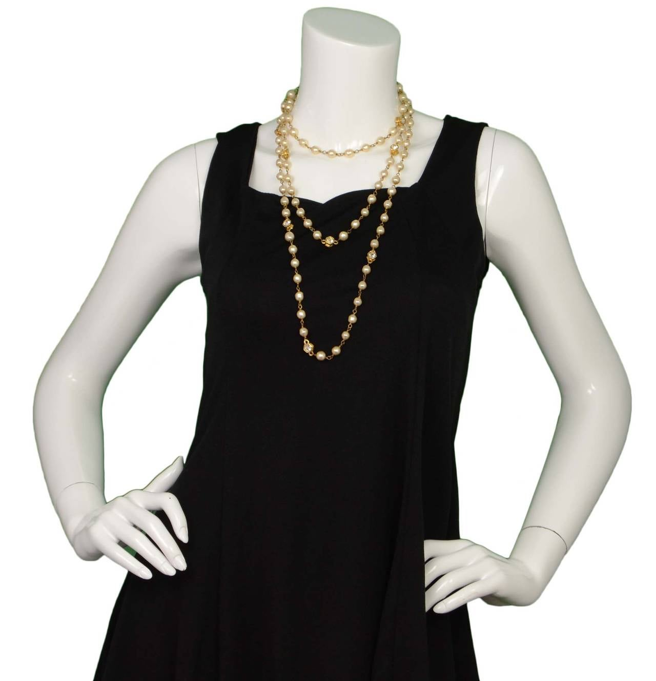 CHANEL Vintage 70's-80's Pearl & Hexagonal Crystal Long Necklace 9