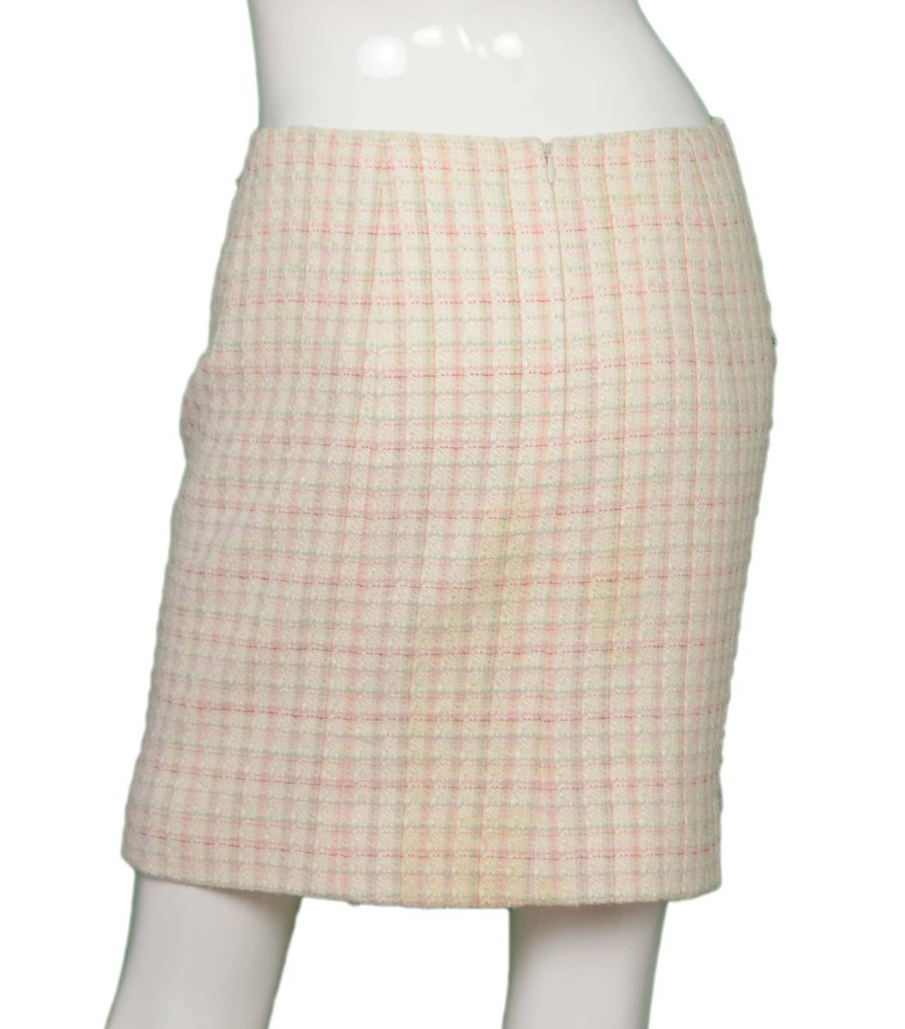 chanel white tweed a line skirt sz 36 for sale at 1stdibs