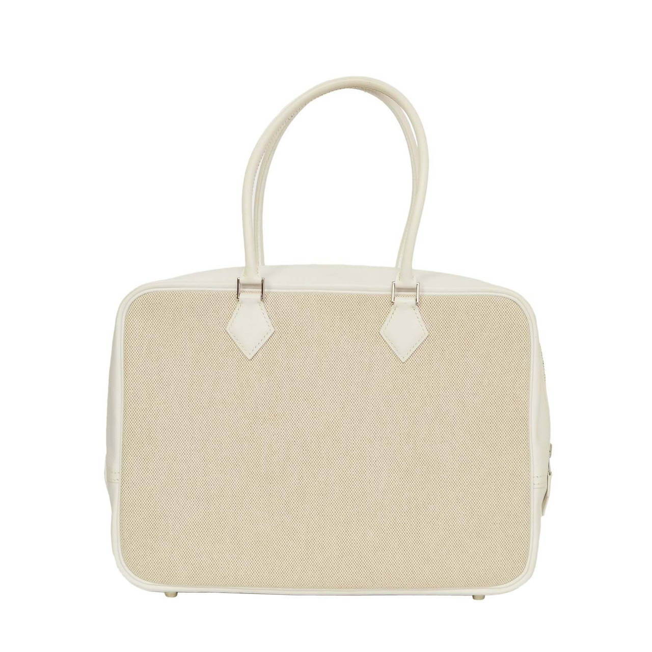 Hermes Beige Canvas & White Leather Toile 32cm Plume Bag
