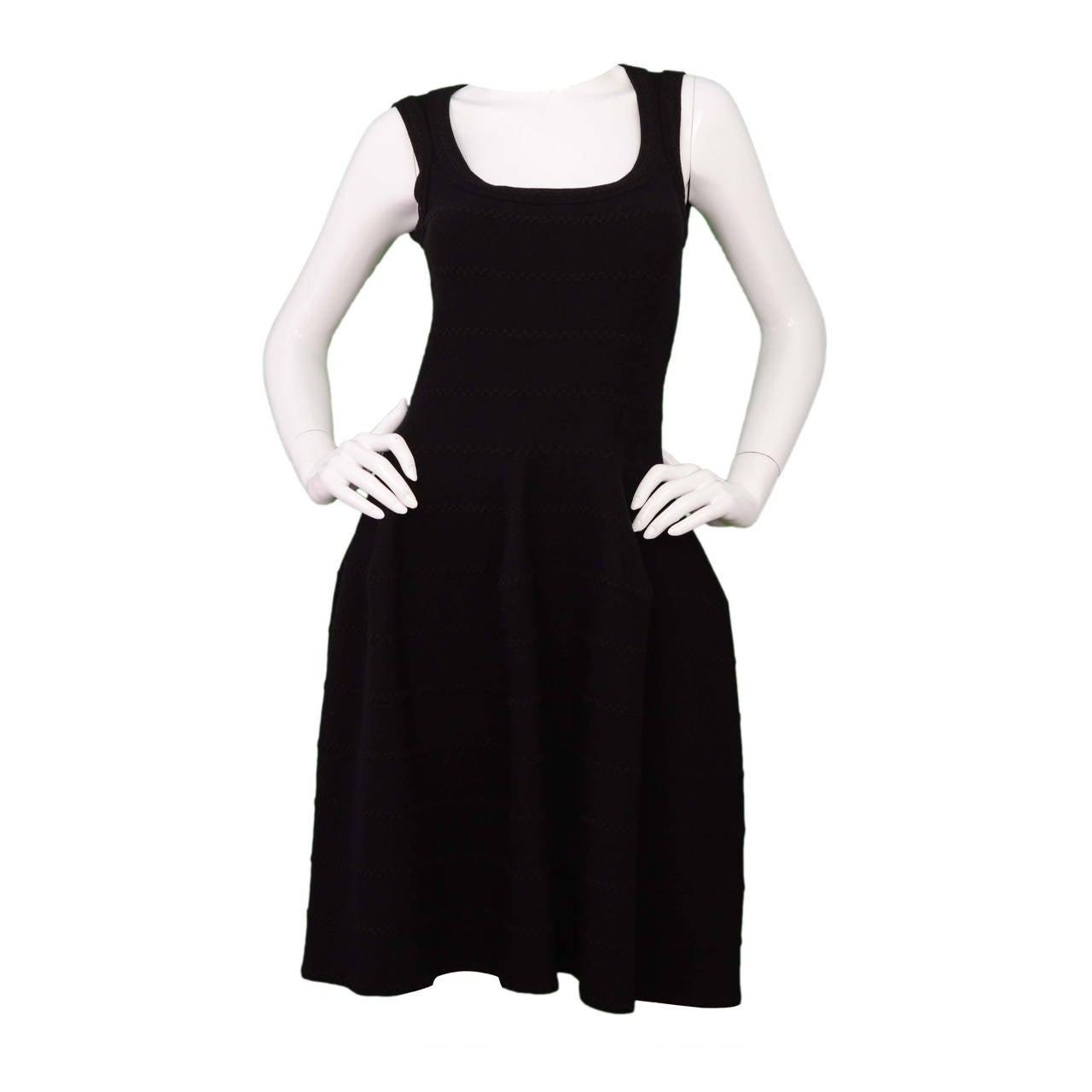 ALAIA Black Knit Fit Flare Dress w/ Metallic Detail sz 40