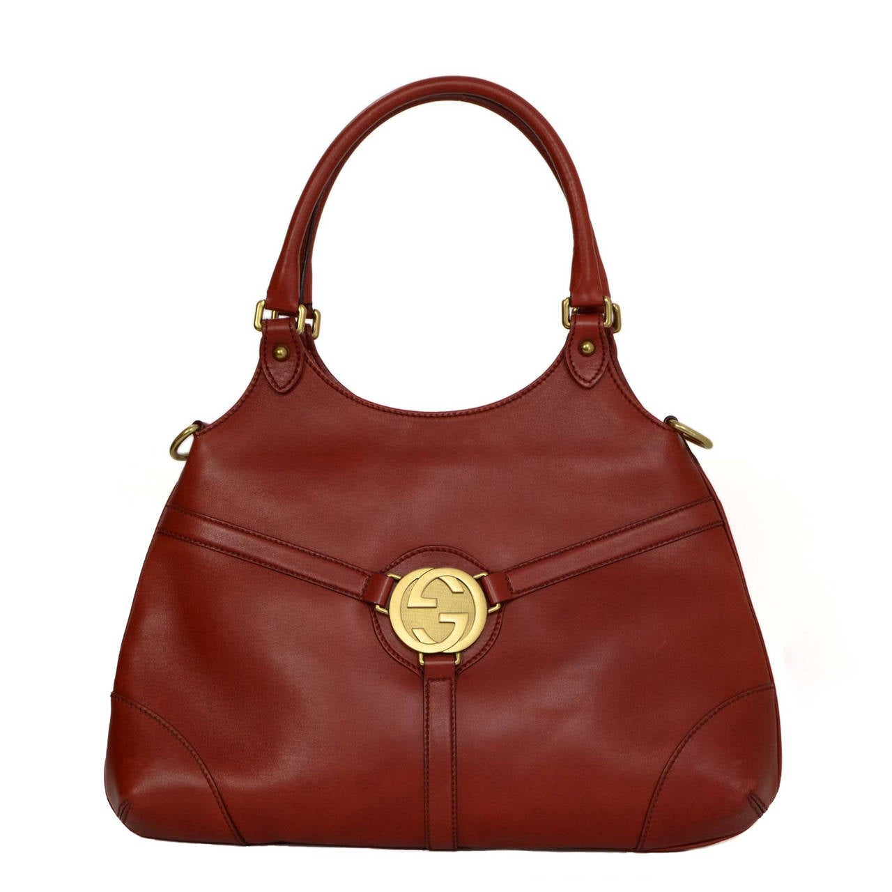 Gucci Rust Leather Shoulder Bag Bhw For
