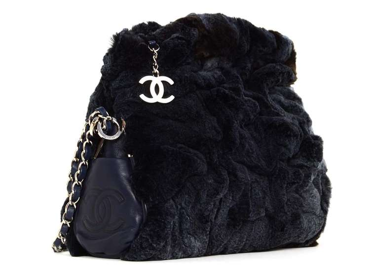 adafadc195b4 Chanel Navy Rabbit Fur Bag With Chain Straps Age  c. 2006-2008 Made