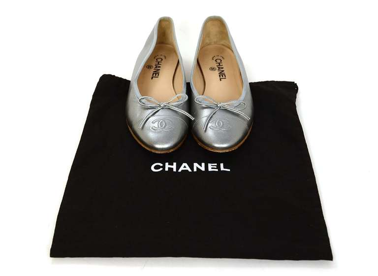 CHANEL Silver Leather Ballet Flats Sz 40 Rt. $675 7