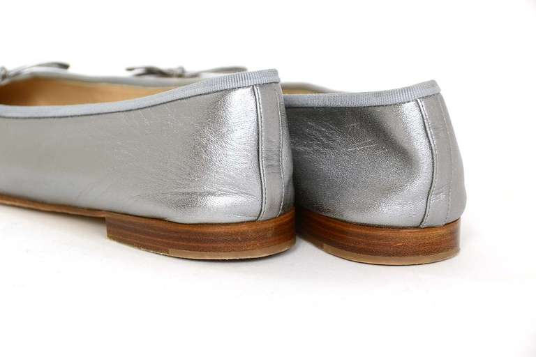 CHANEL Silver Leather Ballet Flats Sz 40 Rt. $675 4