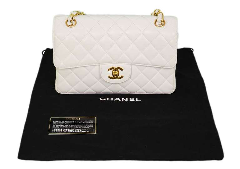 Chanel 1995 2in1 White Quilted Leather Double Sided Classic Flap Bag w Chain 10
