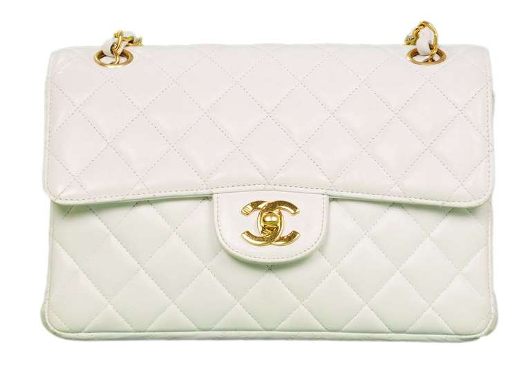 Chanel 1995 2in1 White Quilted Leather Double Sided Classic Flap Bag w Chain 3