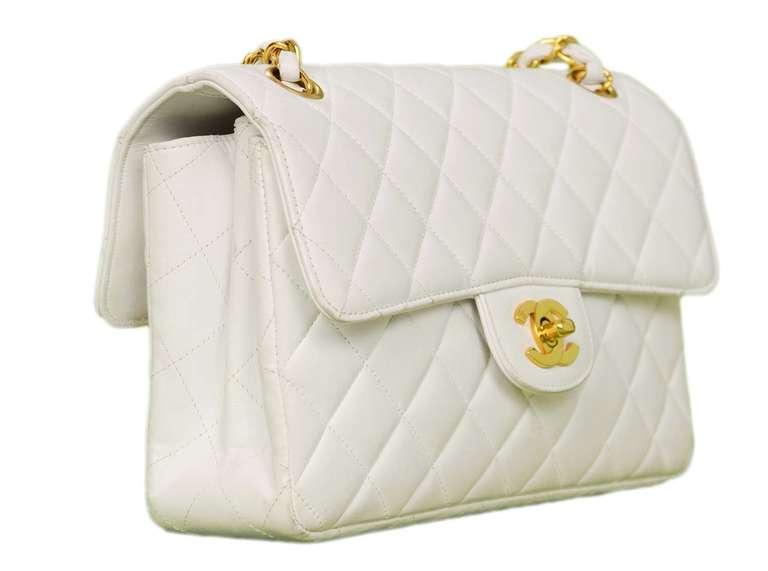 Chanel 1995 2in1 White Quilted Leather Double Sided Classic Flap Bag w Chain 2