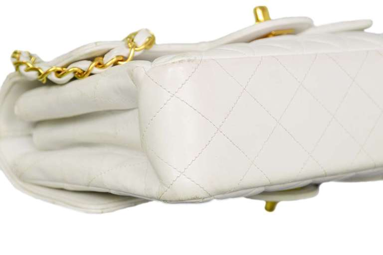 Chanel 1995 2in1 White Quilted Leather Double Sided Classic Flap Bag w Chain 4