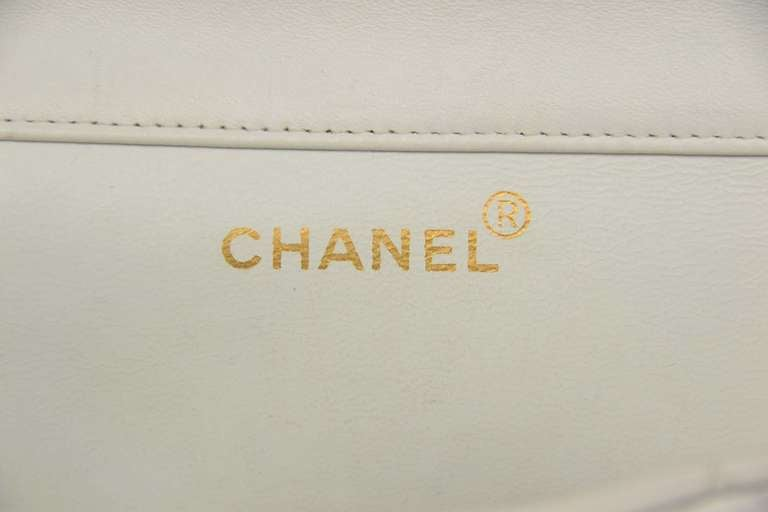Chanel 1995 2in1 White Quilted Leather Double Sided Classic Flap Bag w Chain 6