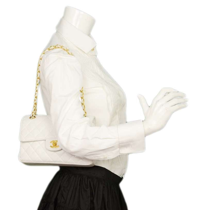 Chanel 1995 2in1 White Quilted Leather Double Sided Classic Flap Bag w Chain 9