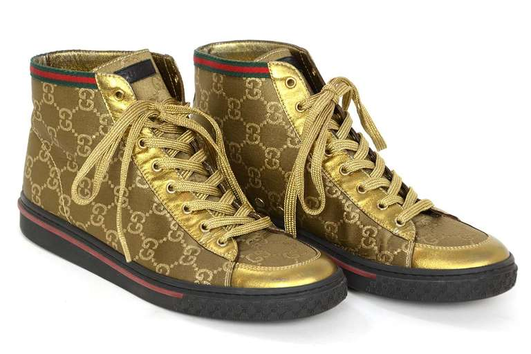 Gucci Gold Canvas High Top Monogram Sneakers Sz 7 Made in Italy Materials   canvas 43bb06205