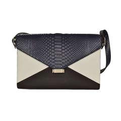 Celine Navy, Black & White Color Block Diamond Bag W. Python