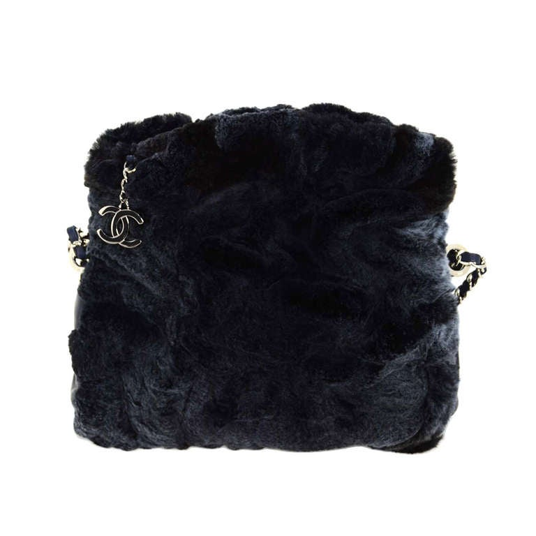 Chanel Navy Rabbit Fur Bag With Chain Straps For