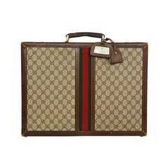Gucci Brown Vintage Monogram Briefcase Bag w. Red & Green Stripe
