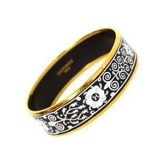 HERMES Black & White Wide Enamel Bangle Bracelet