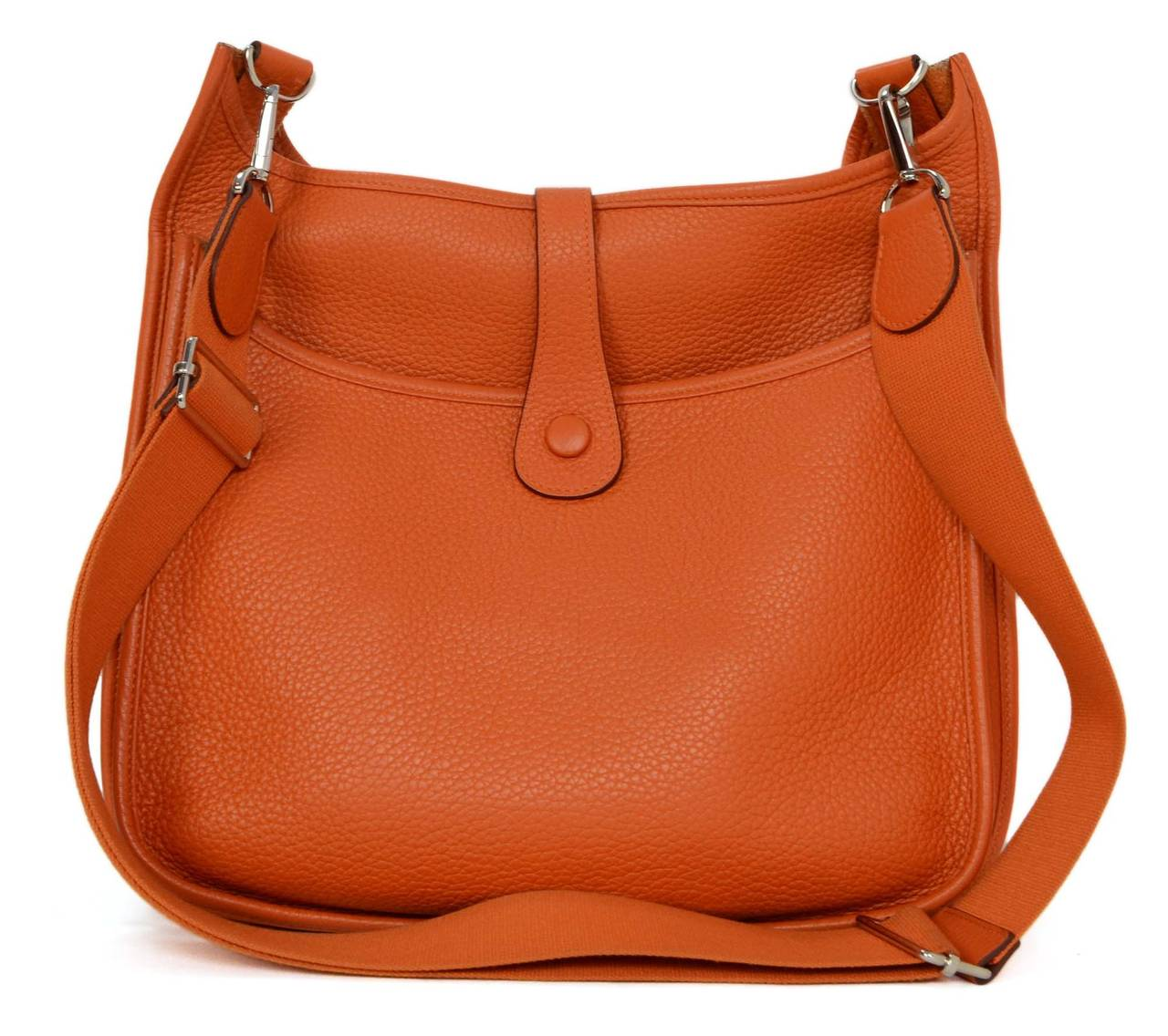 b6cc8fb8c029 ... france hermes orange clemence leather evelyne iii gm bag phw in  excellent condition for sale in