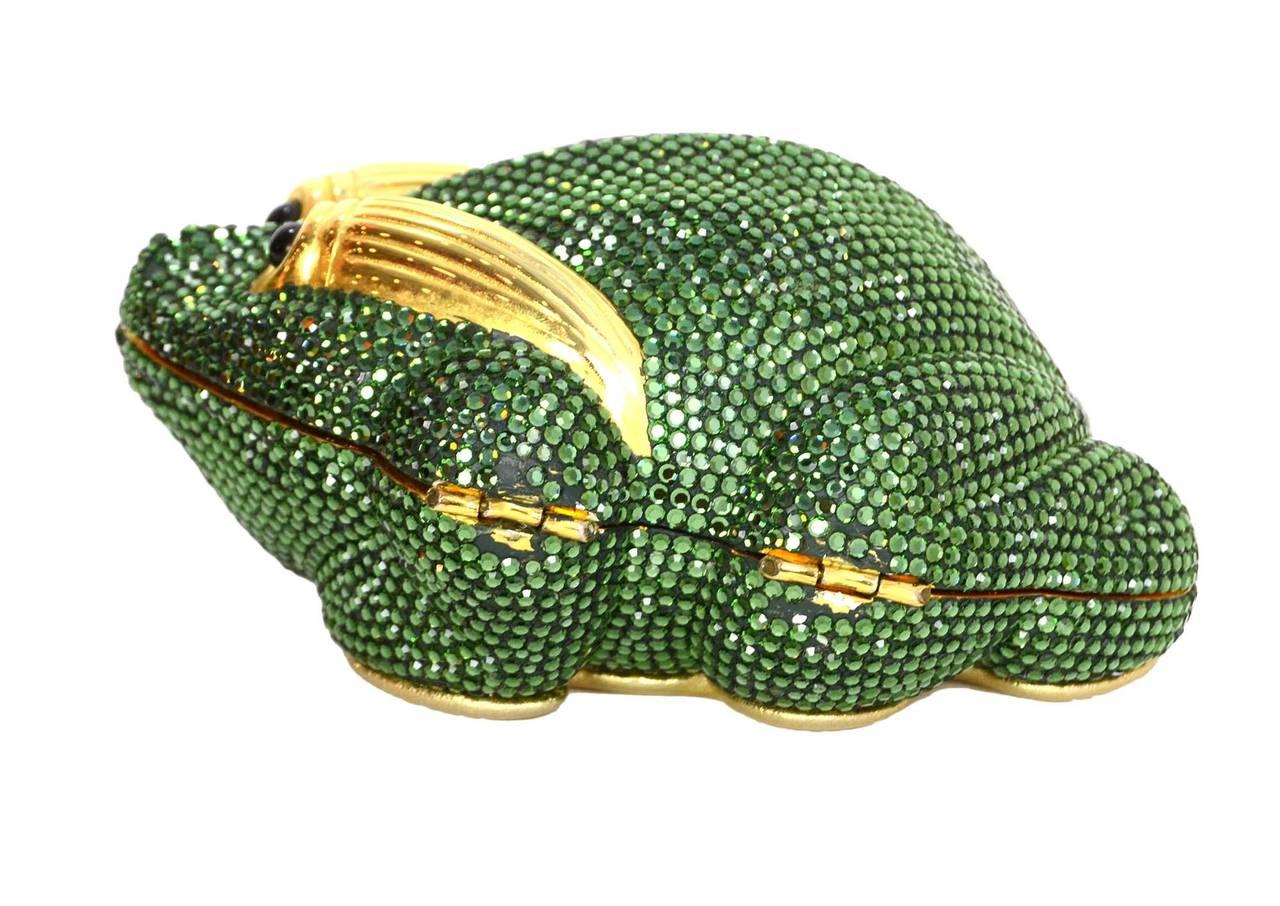 Judith Leiber Green Crystal Frog Minaudiere Bag GHW 2