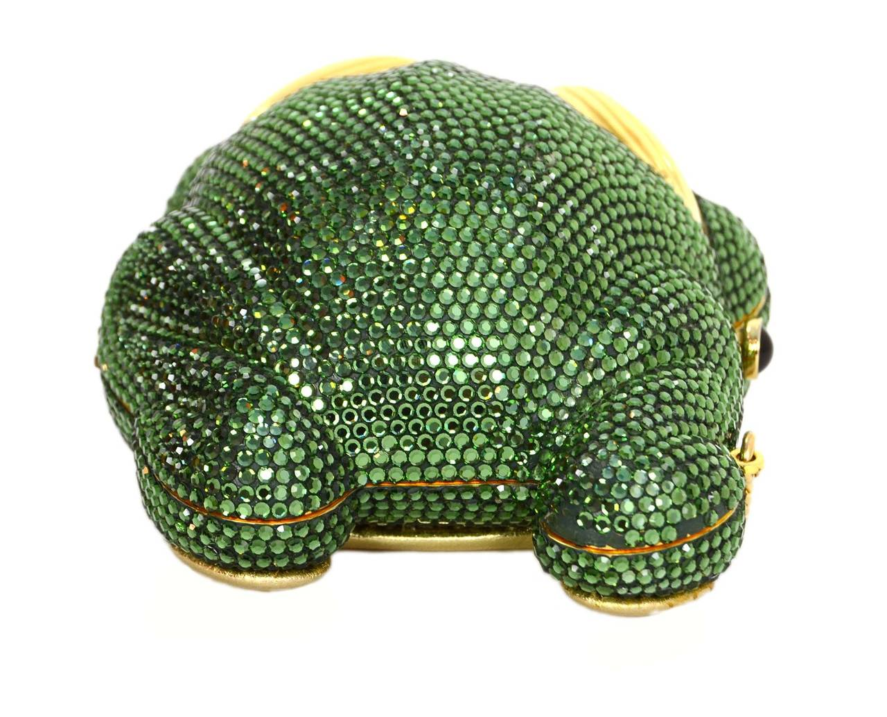 Judith Leiber Green Crystal Frog Minaudiere Bag GHW 3