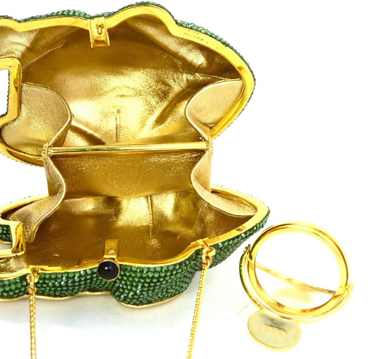 Judith Leiber Green Crystal Frog Minaudiere Bag GHW 5