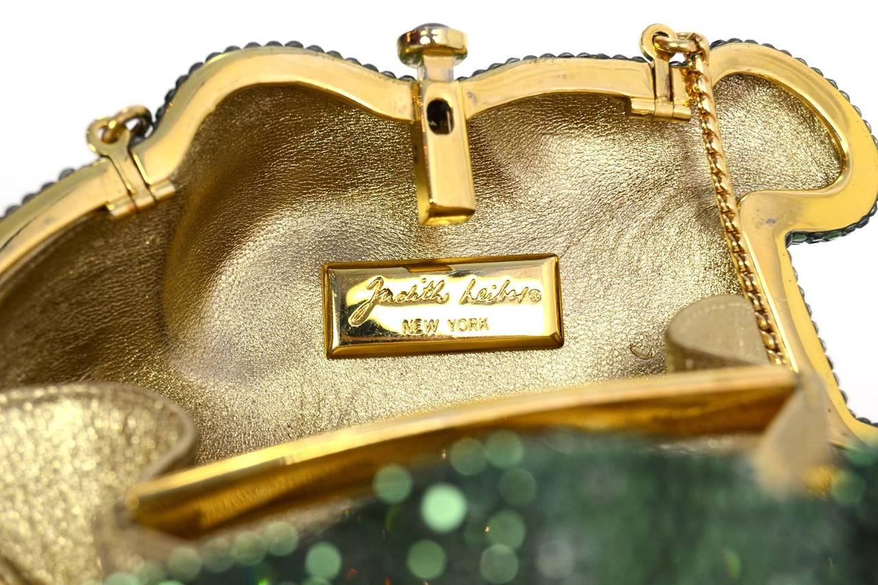Judith Leiber Green Crystal Frog Minaudiere Bag GHW 6