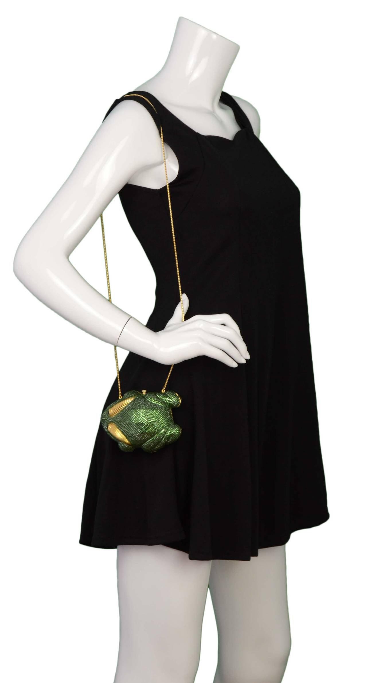 Judith Leiber Green Crystal Frog Minaudiere Bag GHW 7