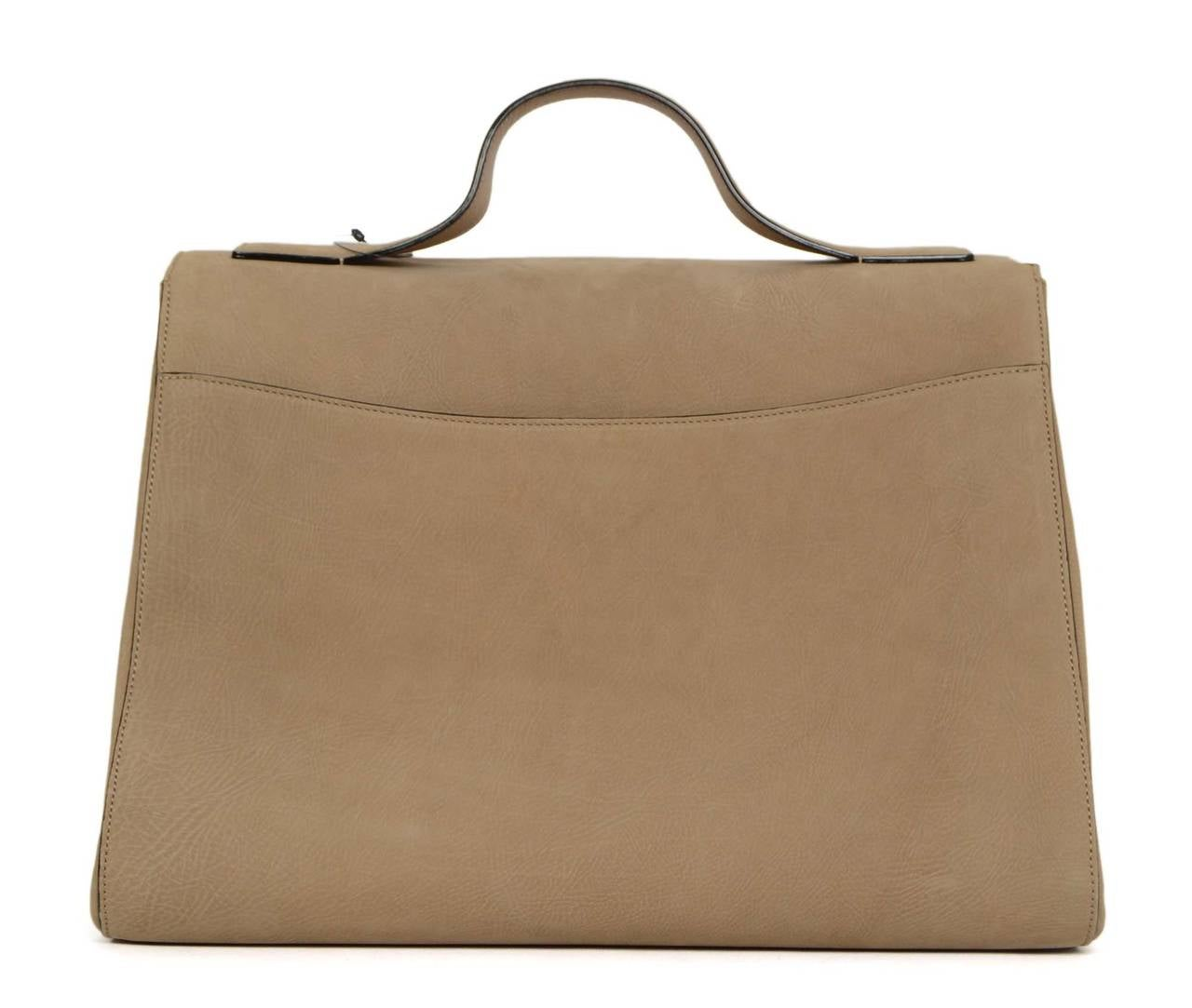 "VICTORIA BECKHAM Tan Suede ""Harper"" Bag SHW In Excellent Condition For Sale In New York, NY"