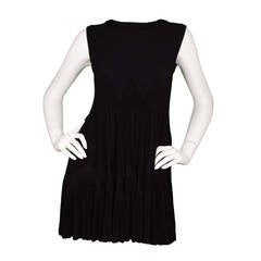 ALAIA Black Sleeveless Zigzag Trapeze Dress sz 42