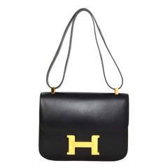 HERMES Vintage '96 Black Box Leather 23cm Constance H Bag GHW