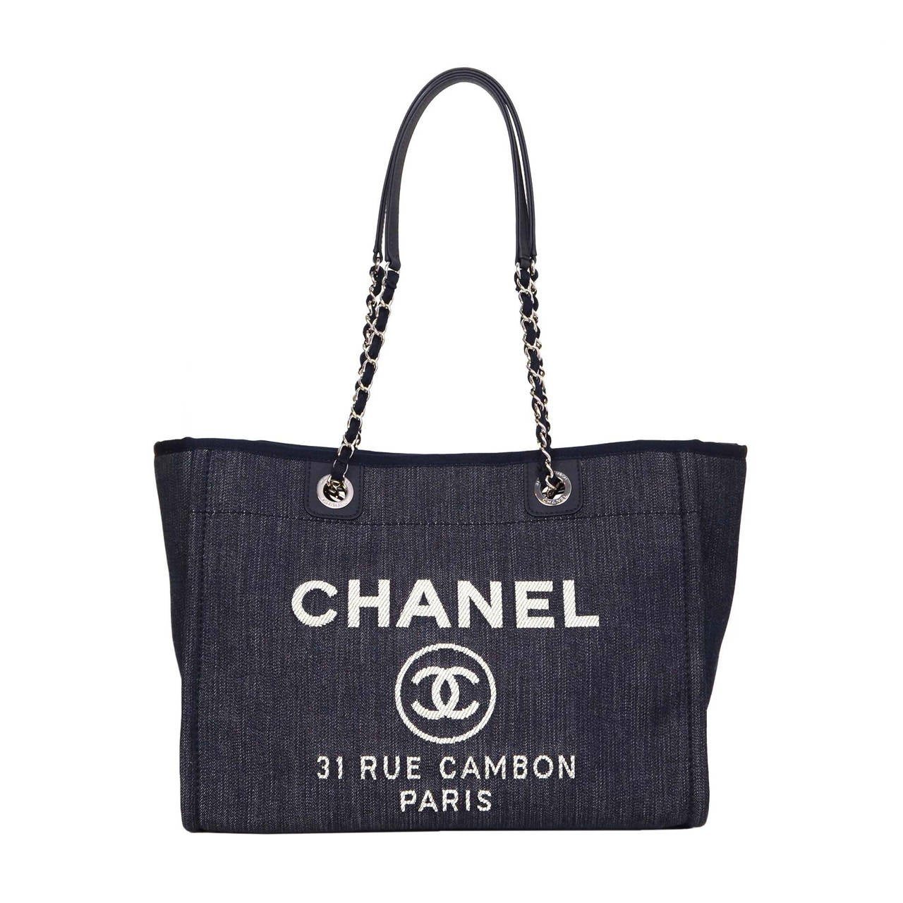 Chanel 15 Blue Denim Deauville Shopper Tote Bag Shw At