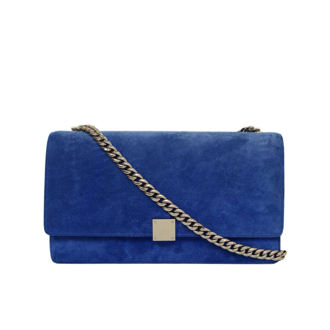 CELINE Cobalt Blue Suede Medium Case Flap Bag SHW