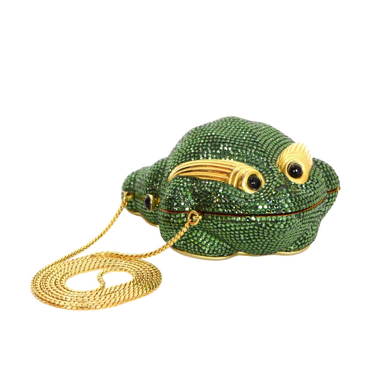 Judith Leiber Green Crystal Frog Minaudiere Bag GHW For Sale